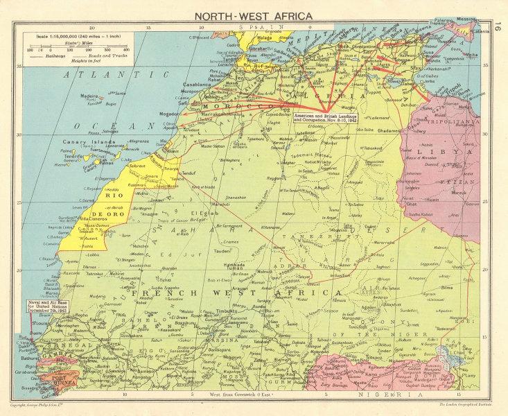 WORLD WAR 2 North-west Africa. Operation Torch landings. Dakar Air base 1943 map