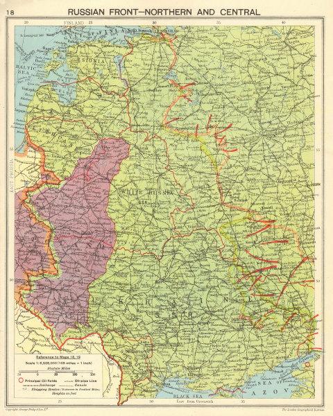 WORLD WAR 2. Eastern Front. Limit of German advance. Russian offensive 1943 map