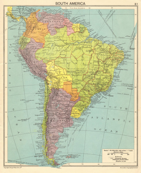 South America. Second World War 1943 old vintage map plan chart