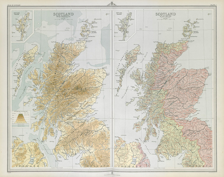 SCOTLAND. Relief & River basins. Watersheds. Drainage divide. LARGE 1895 map