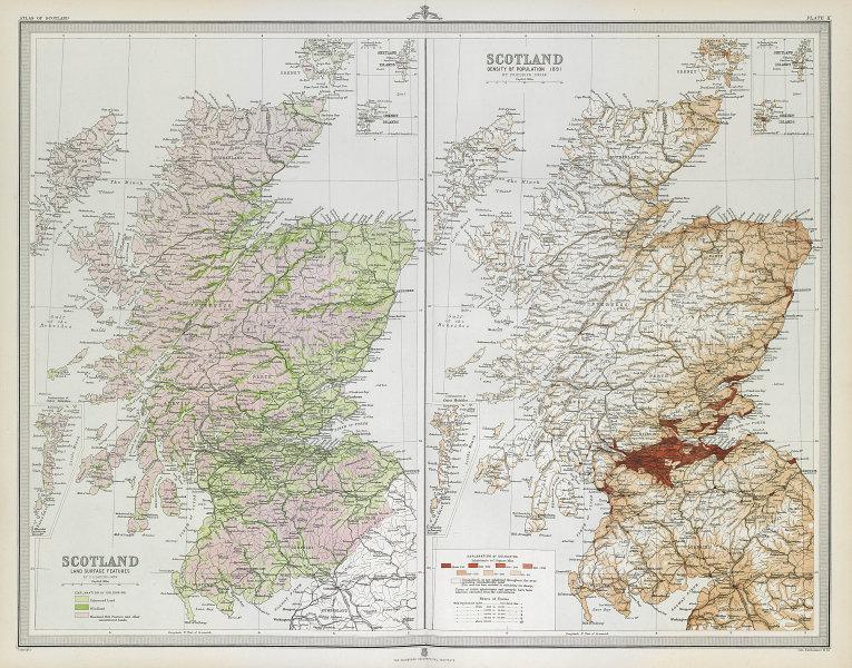 SCOTLAND. Population density 1891. Land use: Farms Woods Moors. LARGE 1895 map