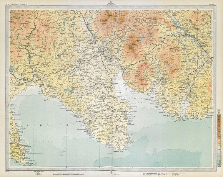 WIGTOWN & KIRKUDBRIGHT Rhinns of Kells Bladnoch Whisky Distillery LARGE 1895 map
