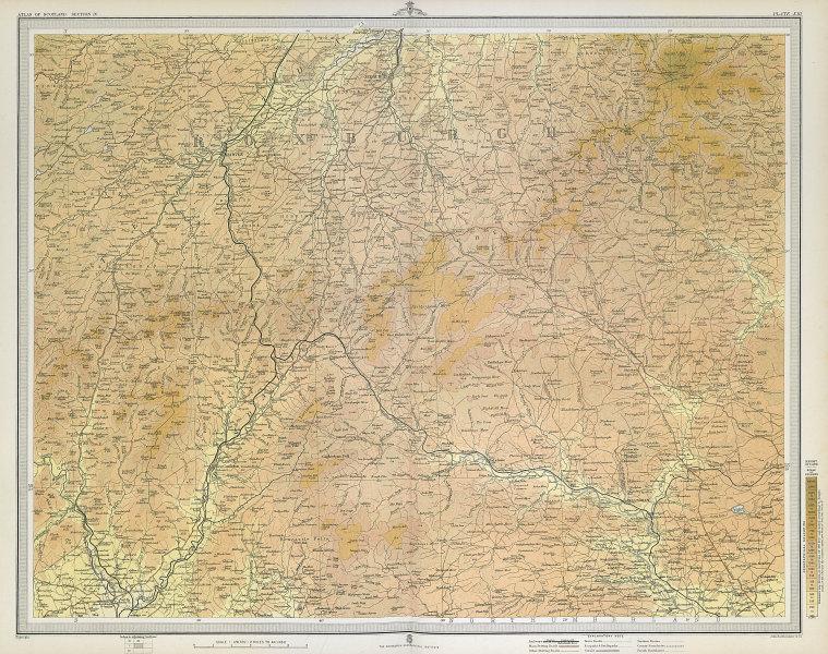 TEVIOTDALE Roxburghshire Jedburgh Hawick Langholm Northumberland. LARGE 1895 map
