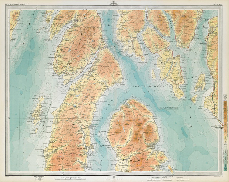 NORTH KINTYRE & ARRAN Bute Rothesay Firth of Clyde Dunoon Kirn Knapdale 1895 map