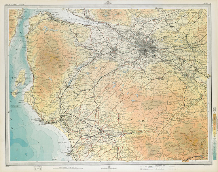 GLASGOW ENVIRONS Renfrewshire Ayrshire Troon Greenock Kilmarnock. LARGE 1895 map