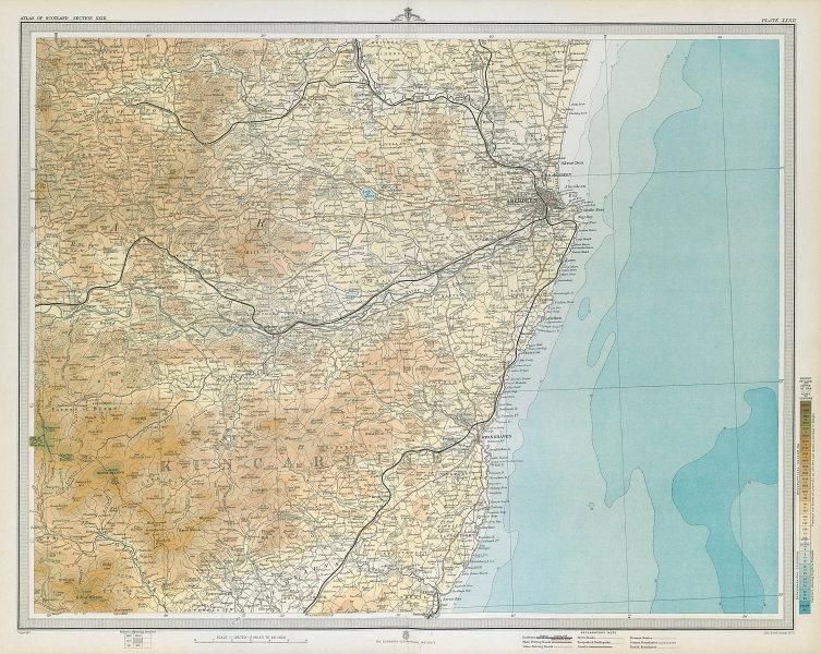 KINCARDINE/ABERDEENSHIRE COAST. Stonehaven Alford Bervie Dee. LARGE 1895 map