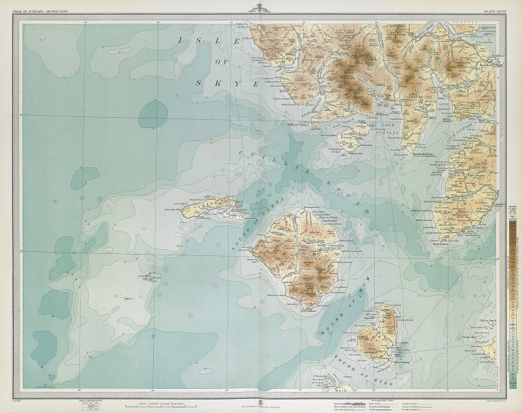 SOUTH SKYE, RUM & EIGG. Canna Sleat The Cuillins Minginish Muck. LARGE 1895 map