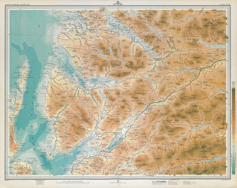 ROSS & CROMARTY. Kinlochewe Torridon Loch Carron Applecross. LARGE 1895 map