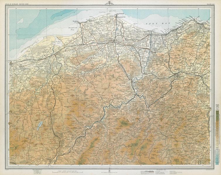 SPEYSIDE WHISKY REGION Elgin Grantown Keith Dufftown distilleries LARGE 1895 map