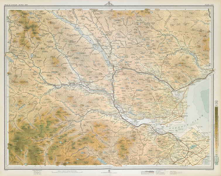 SUTHERLAND Ross & Cromartyshire Dornoch Firth Loch Shin Tain. LARGE 1895 map