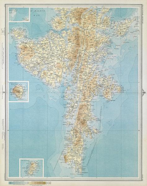 SHETLAND ISLANDS SOUTH. Mainland Lerwick Foula Fair Isle Bressay. LARGE 1895 map