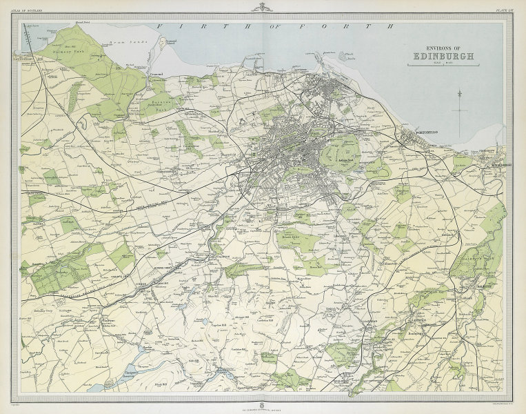 Environs of EDINBURGH & LEITH. Midlothian. Large 45x55. Relief. LARGE 1895 map