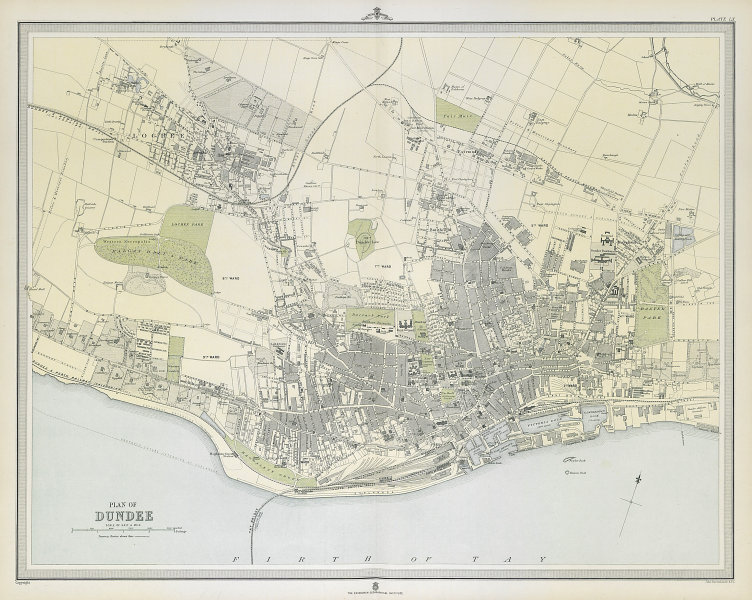 Large antique DUNDEE town/city plan. 45 x 55 cm. LARGE 1895 old map