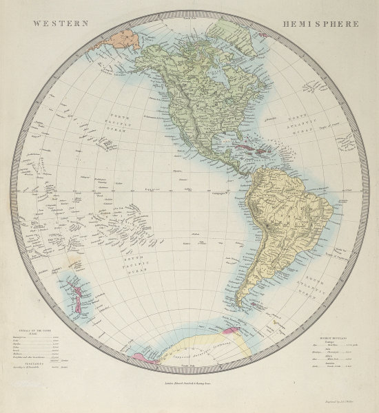 """WESTERN HEMISPHERE Pacific Americas """"Supposed Antarctic Continent"""" SDUK 1857 map"""