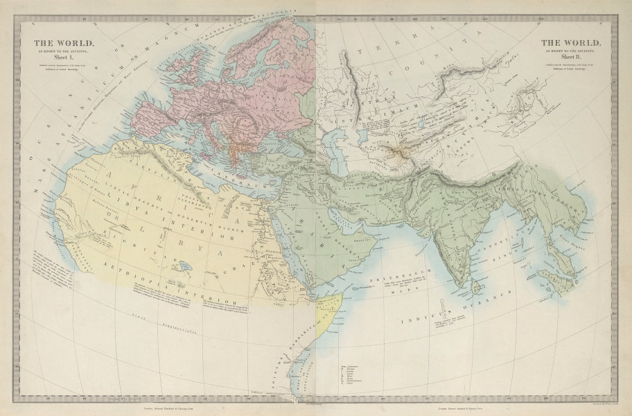 WORLD KNOWN TO ANCIENTS. Herodotus Ptolemy Pliny Hanno. On 2 sheets 1857 map