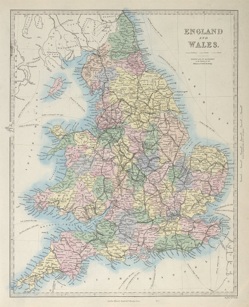 ENGLAND AND WALES. Canals and Railways. SDUK 1857 old antique map plan chart