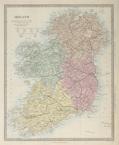 IRELAND. Showing roads, railways, canals and provinces. SDUK 1857 old map