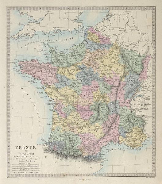 FRANCE showing pre-revolutionary PROVINCES. Original hand colour. SDUK 1857 map