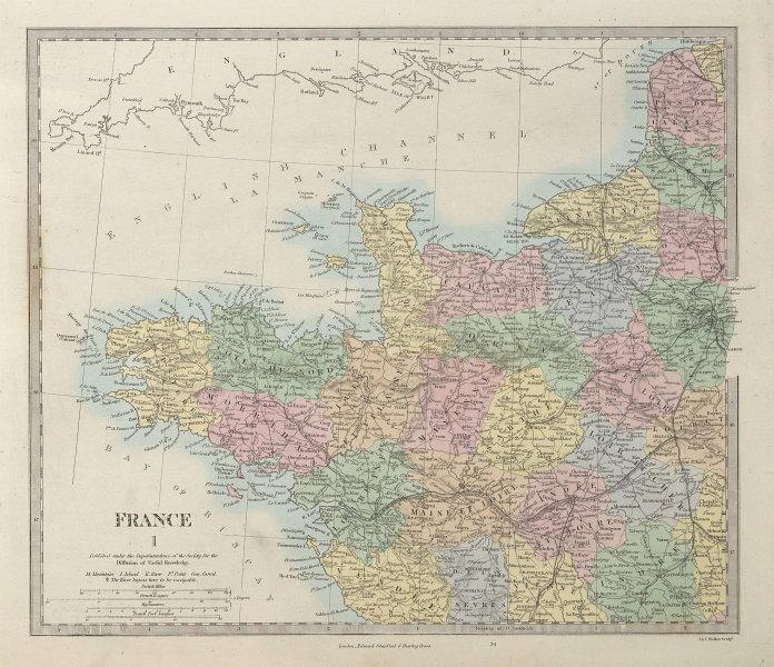 FRANCE NORTH WEST. Bretagne Normandie Loire Centre. Hand coloured. SDUK 1857 map
