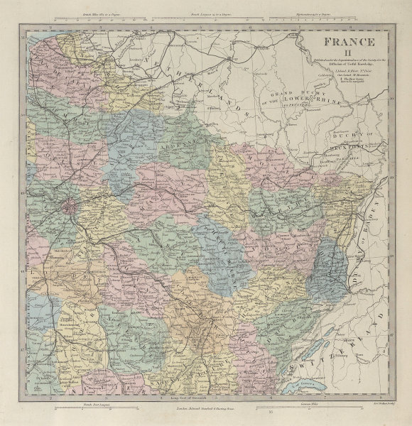 FRANCE NORTH EAST Champagne Alsace Lorraine Picardie Bourgogne. SDUK 1857 map