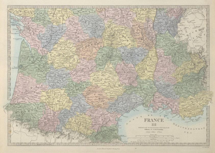 FRANCE SOUTH Aquitaine Pyrénées Provence Languedoc Rhône Auvergne SDUK 1857 map