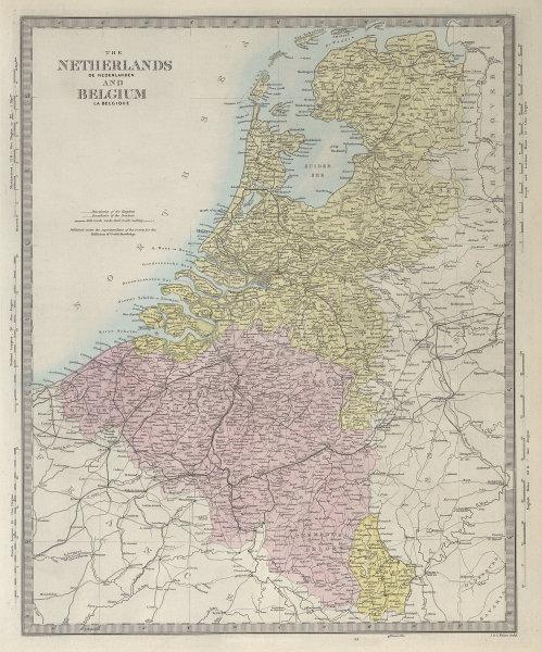 NETHERLANDS & BELGIUM. Luxembourg. Benelux. Provinces. Holland. SDUK 1857 map