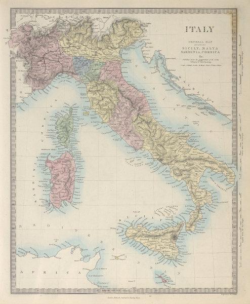 ITALY general map. Sicily Sardinia Corsica. Includes Savoie & Nice. SDUK 1857