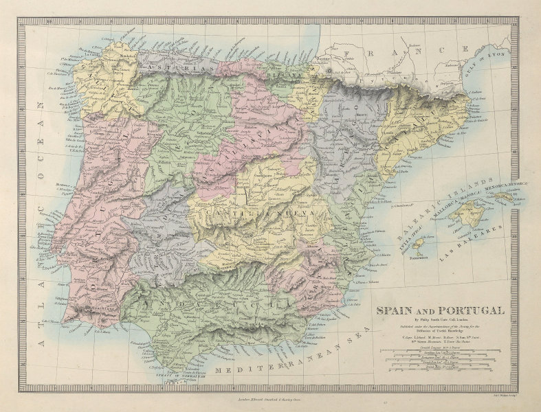 IBERIA. Spain and Portugal showing provinces. SDUK 1857 old antique map chart