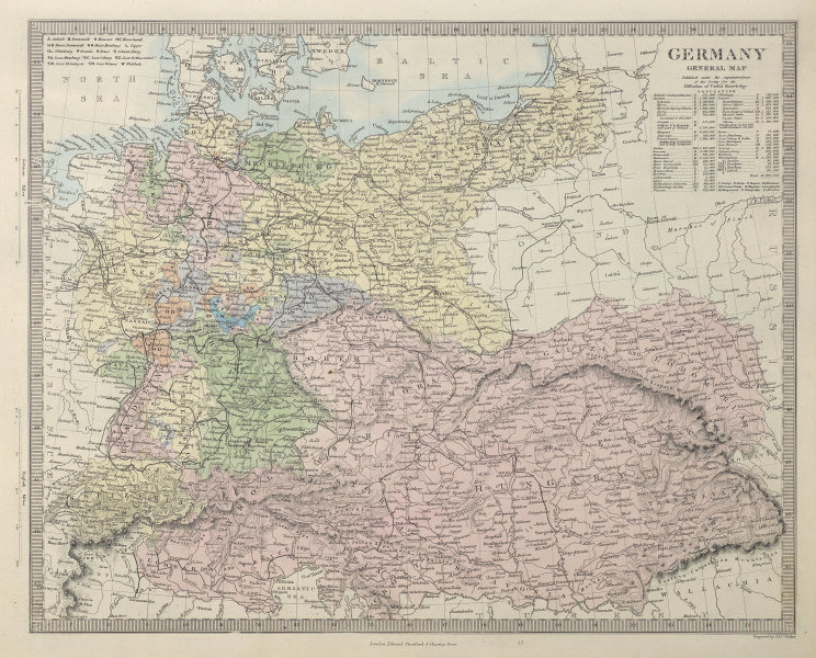 GERMANY General Map. Austria-Hungary & Switzerland. Population table. SDUK 1857