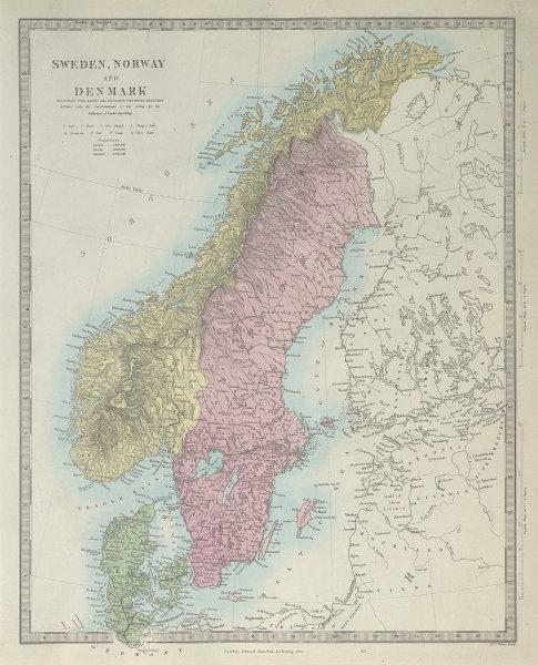 SCANDINAVIA. Sweden, Norway, and Denmark. Populations. SDUK 1857 old map