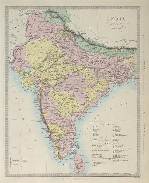 BRITISH INDIA British French Portuguese possessions/protectorates. SDUK 1857 map