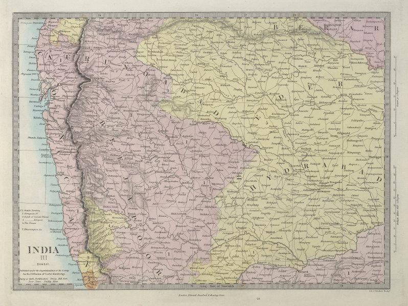 BRITISH INDIA Bombay Mumbai Maharashtra Telangana Goa Hyderabad. SDUK 1857 map