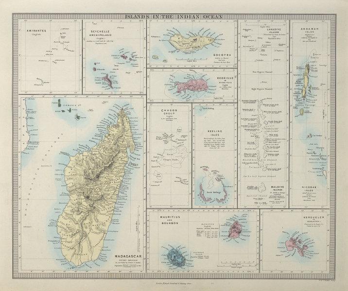 INDIAN OCEAN ISLANDS Madagascar Seychelles Maldives Mauritius. SDUK 1857 map
