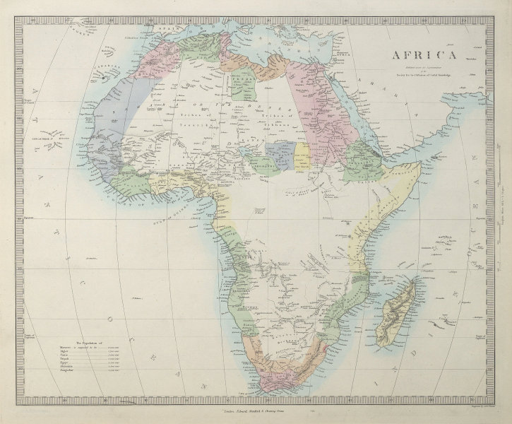AFRICA pre most European exploration/colonisation. Kong Mountains. SDUK 1857 map