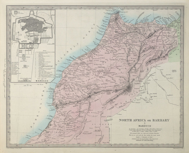 NORTH AFRICA OR BARBARY I. MAROCCO. Morocco. MARRAKECH city plan. SDUK 1857 map