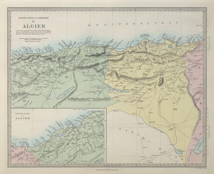NORTH AFRICA OR BARBARY II. ALGIER. Algeria Algiers. SDUK 1857 old antique map