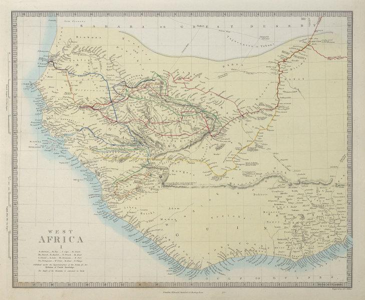 WEST AFRICA Explorers' routes Senegal Ashanti. Mountains of Kong. SDUK 1857 map