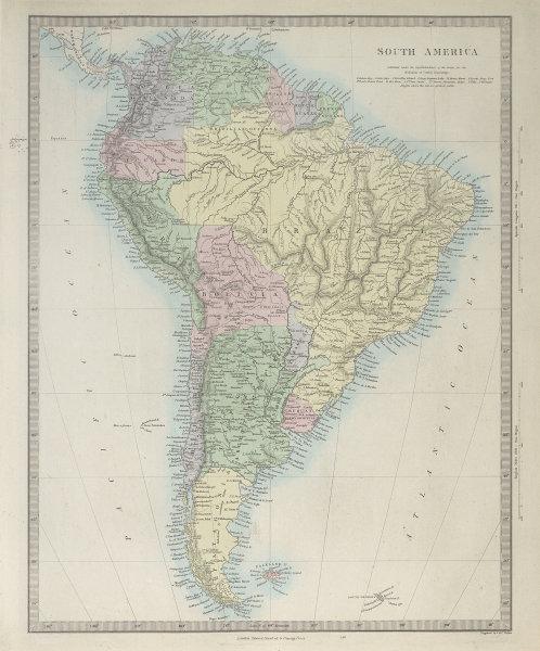 SOUTH AMERICA. Brazil Peru Bolivia w/Litoral Patagonia La Plata. SDUK 1857 map