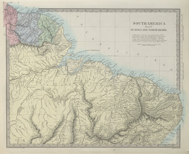 AMAZONIA. Showing Indian tribes. Guyana Surinam Brazil. Recife. SDUK 1857 map