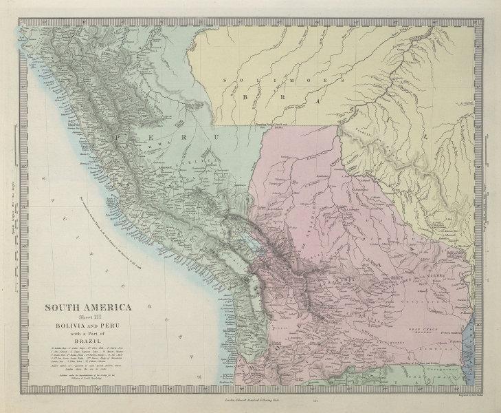 BOLIVIA & PERU with a part of Brazil. Bolivia Litoral / sea coast. SDUK 1857 map
