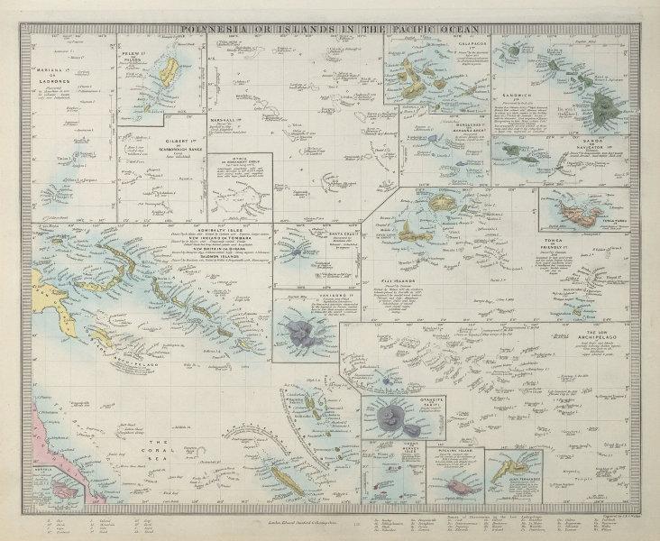 PACIFIC ISLANDS. Polynesia Hawaii Samoa Fiji Tonga Tahiti Cook. SDUK 1857 map