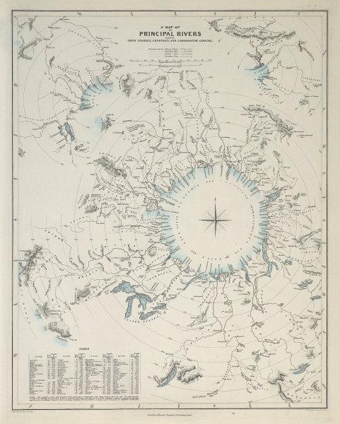 Comparative lengths of World's PRINCIPAL RIVERS. Amazon longest. SDUK 1857 map