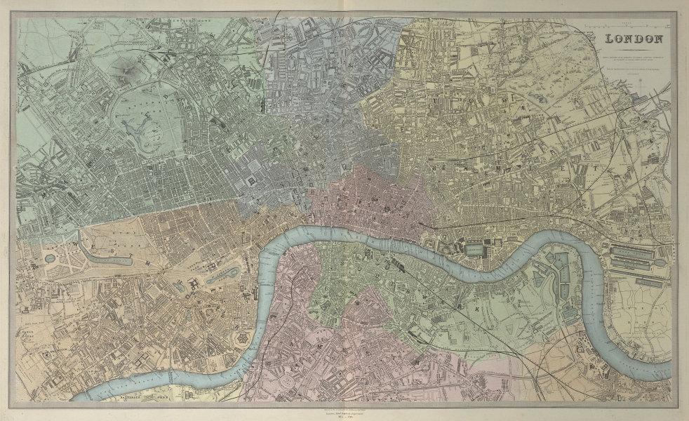 LONDON antique town city map plan. Original hand colour. LARGE. SDUK 1857