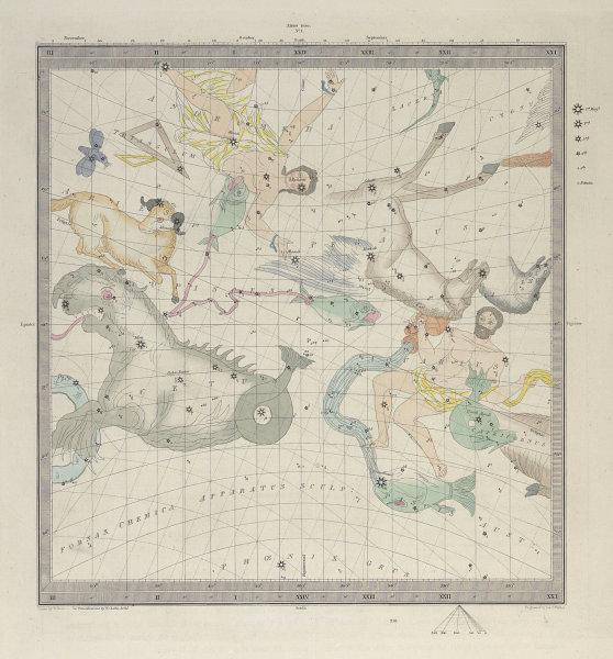 ASTRONOMY CELESTIAL. Star map. Star chart, I. Vernal Equinox. SDUK 1857