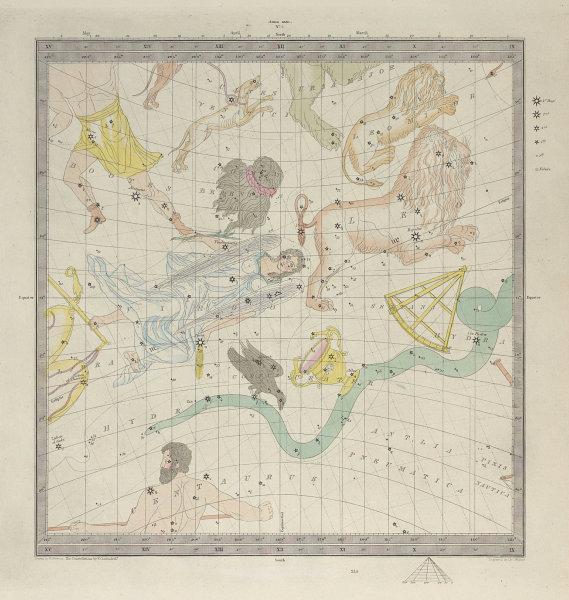 ASTRONOMY CELESTIAL. Star map. Star chart, III. Autumnal Equinox. SDUK 1857