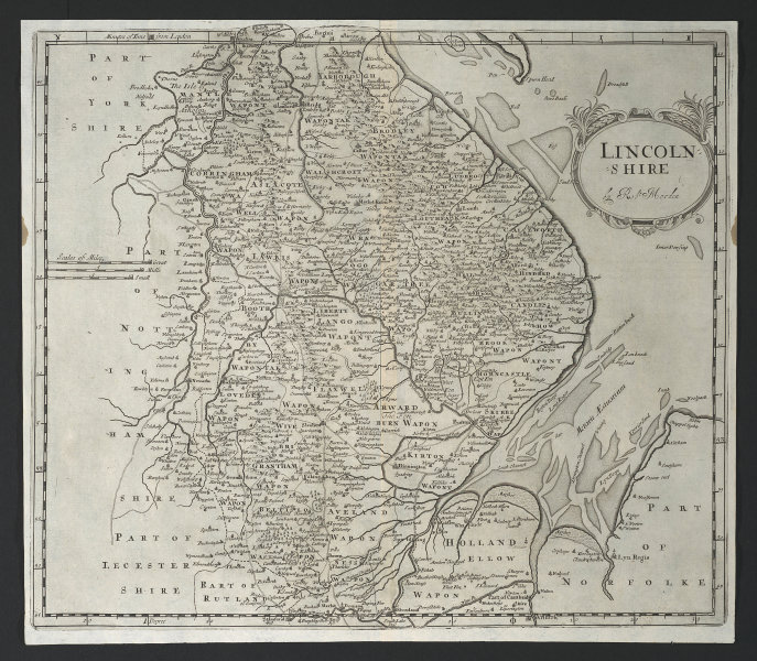 Lincolnshire. 'LINCOLN SHIRE' by ROBERT MORDEN from Camden's Britannia 1695 map