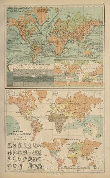 Physical & Ethnographical Charts of the World. Ethnic. BARTHOLOMEW 1870 map