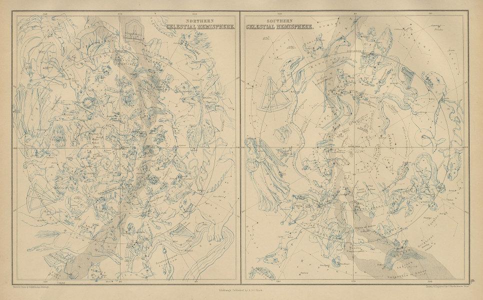 Northern & Southern Celestial Hemispheres. Star charts. BARTHOLOMEW 1870 map