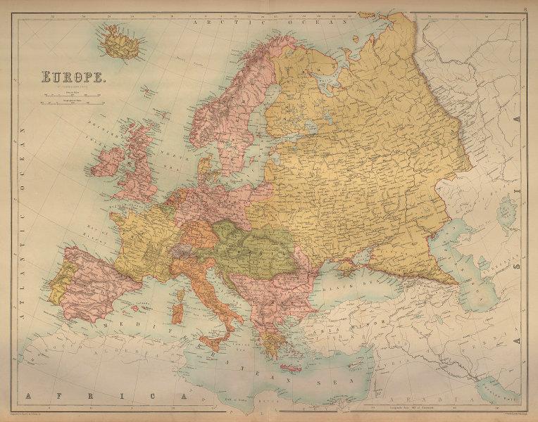 Europe. Austria Prussia Ottoman Russian Empires BARTHOLOMEW 1870 old map