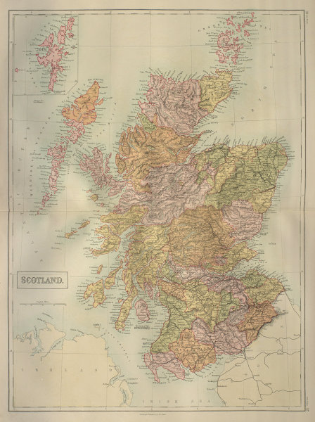 Scotland in counties. Railways. BARTHOLOMEW 1870 old antique map plan chart
